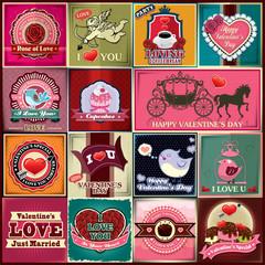 Vintage Valentine poster design set