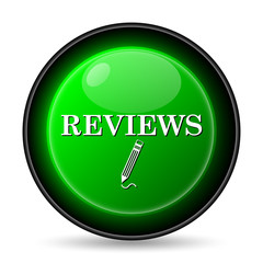 Reviews icon. Internet button on white background..