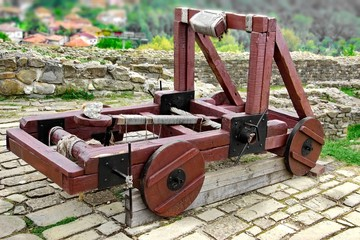 Old catapult in Tsarevets fortress,  Bulgaria, Veliko Tarnovo