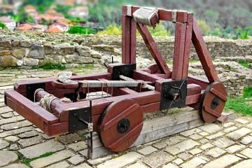 Old catapult in Tsarevets fortress,  Bulgaria, Veliko Tarnovo