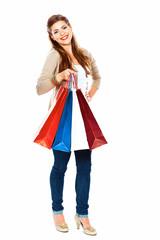 Fashion model with shopping bag. Isolated white background full