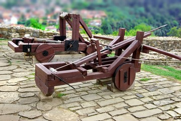 Old Crossbow and catapult in Tsarevets fortress,  Bulgaria, Veli