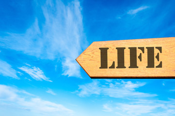 Arrow sign with Life message