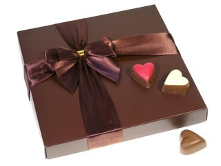 A box of chocolates with a ribbon