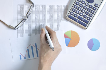 Financial graphs and business report