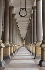 Classical style colonnade with Clock, Karlovy Vary © AnastasiiaUsoltceva