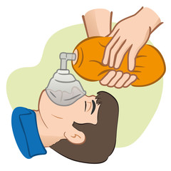 First Aid resuscitation (CPR) using manual respirator