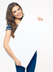 smiling woman hold white banner. isolated portrait.