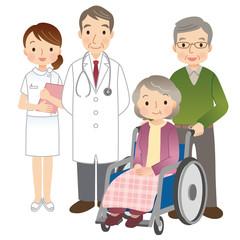 車椅子に乗る高齢者 医師 看護師