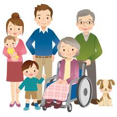 車椅子に乗る高齢者 家族