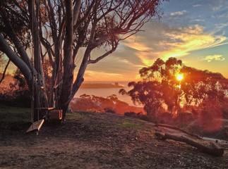 Swingset in a tranquil setting overlooking the ocean, La Jolla