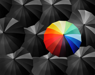 colored umbrellas on a black background