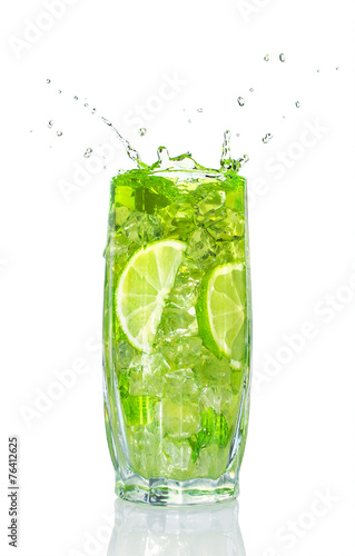 refreshing cocktail with mint and lime - 76412625