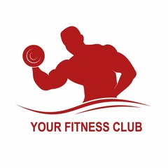 Fitness logo with muscled man silhouette. Man hold dumbbell