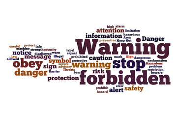 warning labels word cloud concept