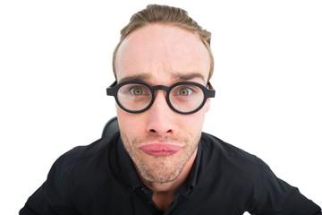 Portrait of geek making a face