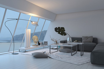 Modern living room interior with sloped windows