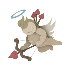 Cupid recycled paper craft with clipping path