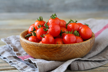 Sweet red cherry tomatoes in a bowl