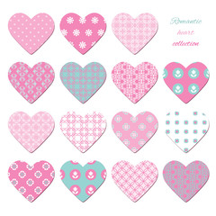Cute textile hearts set isolated on white.