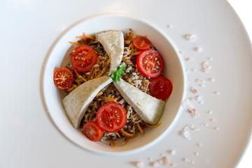 boiled buckwheat, tofu and tomato salad