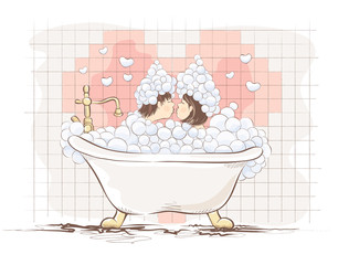 Valentin card -- lovers in the bath