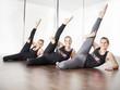 Girls stretching for poledance