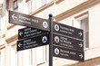 Directional signpost to landmarks of historic Lviv, Ukraine