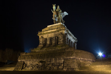 deutsches eck koblenz germany at night