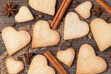 Variety of homemade heart shaped cookies gift for valentines day