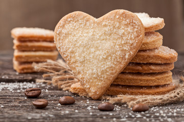 Stack of handmade heart shaped cookies gift for valentines day h