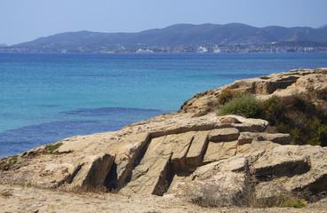 Palma bay and old limestone quarry in Es Carnatge