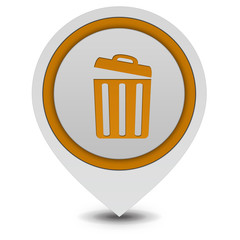 trash can pointer icon on white background