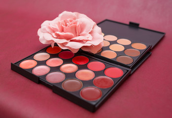 Cosmetics makeup on a red background