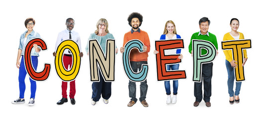 Multi-Ethnic Group People Holding Text Concept
