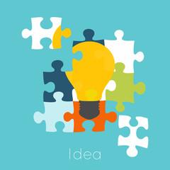 Puzzle light bulb icon. Concept vector illustration