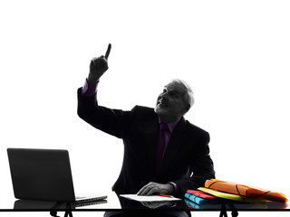 senior business man Pointing Up silhouette