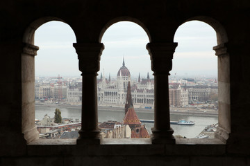Hungarian Parliament seen from the Fisherman's Bastion in Budape