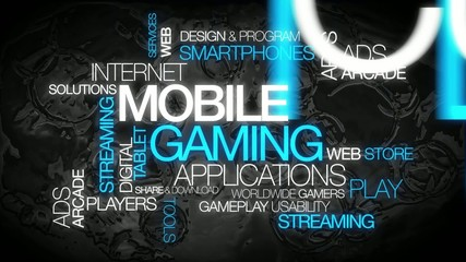 Mobile gaming apps words text tag cloud video
