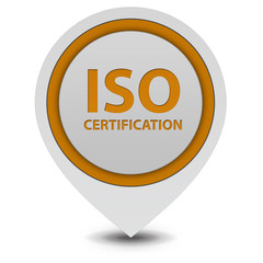 Iso certification pointer icon on white background