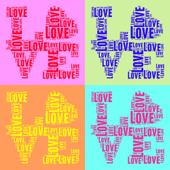 Collage of colorful vintage pop art style words cloud LOVE