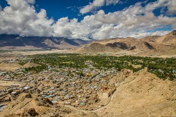View of Leh city with Himalayas-Leh,Ladakh,India
