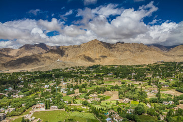 Leh city and valley and Himalayas-Leh,Ladakh,India