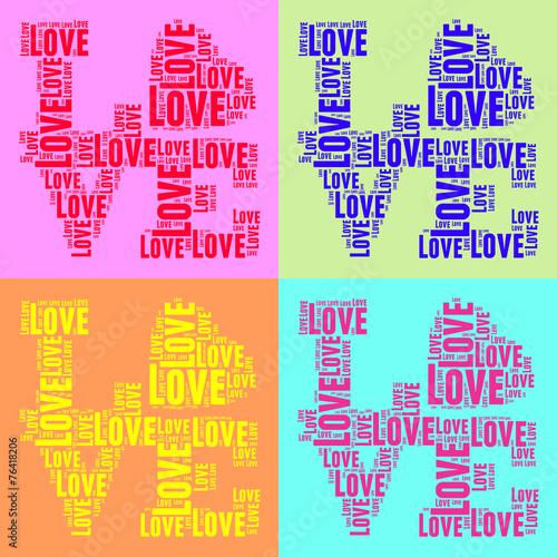 Fototapeta Collage of colorful vintage pop art style words cloud LOVE