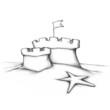 Sandburg mit zwei flachen Türmen - 76418499