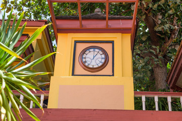 Colorful Clock Tower in Philipsburg