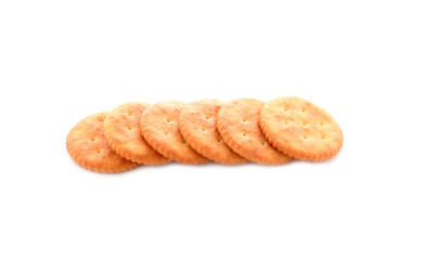 round crackers on white background