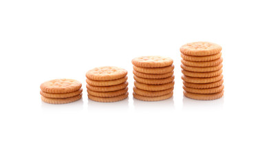 stack of round crackers on white background