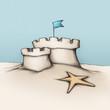 Sandburg mit zwei flachen Türmen