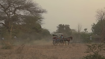 Sunset in Bagan with a horse cart